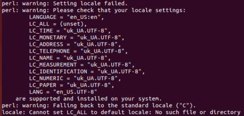 ошибка Ubuntu -- locale: Cannot set LC_ALL to default locale: No such file or directory