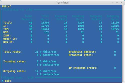 Можно посмотреть подробную статистику для каждого конкретного интерфейса Linux