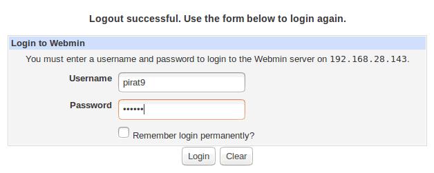 Access-Webmin-console