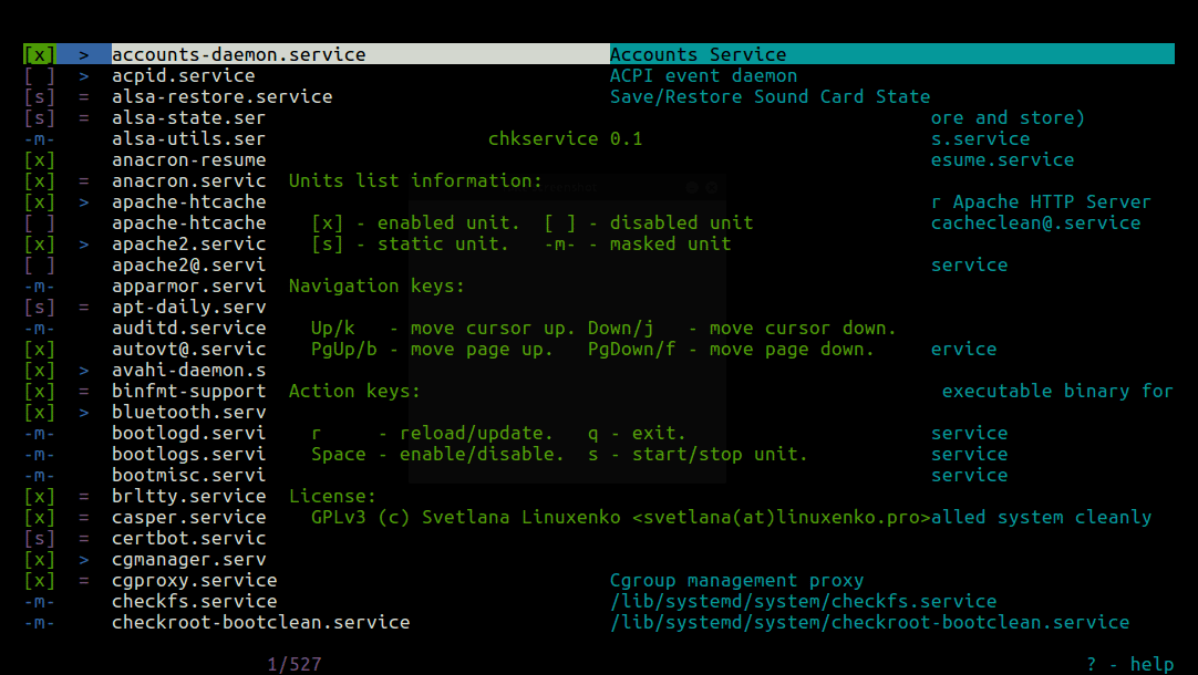 Chkservice-Help-and-Options