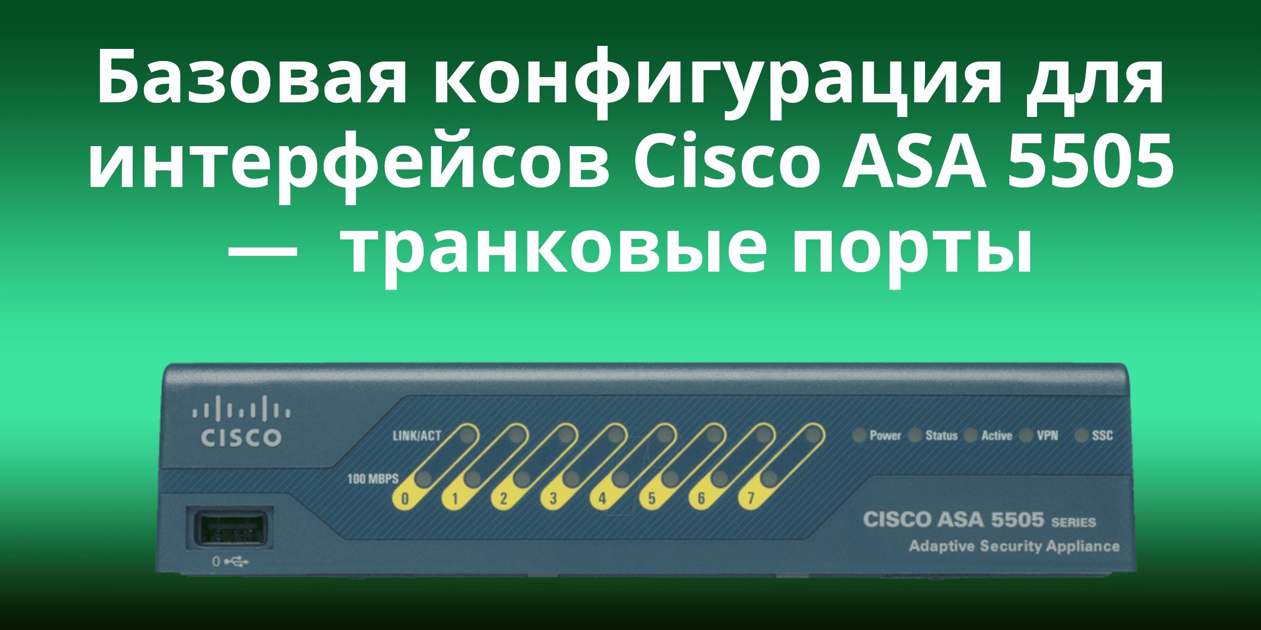 Базовая конфигурация для интерфейсов Cisco ASA 5505