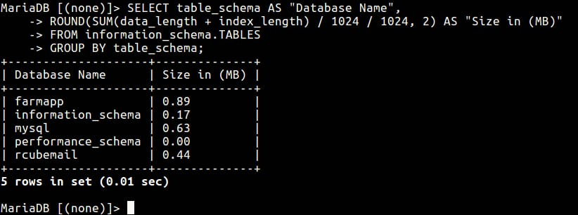 Chaeck MySQL Database Size