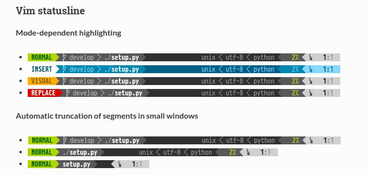 Powerline - добавляет строку статуса и подсказки редактору Vim и терминалу Bash