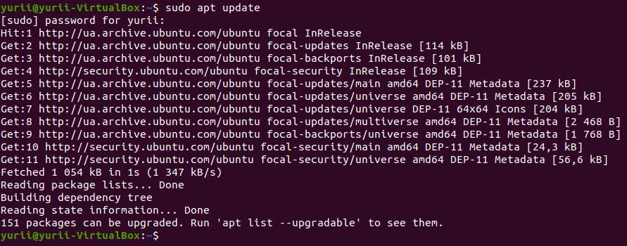 sudo apt update