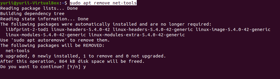 sudo apt remove net-tools