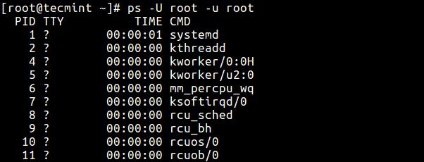 Display-Root-User-Running-Processes