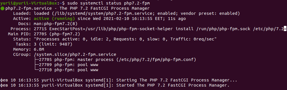 status php7.2-fpm