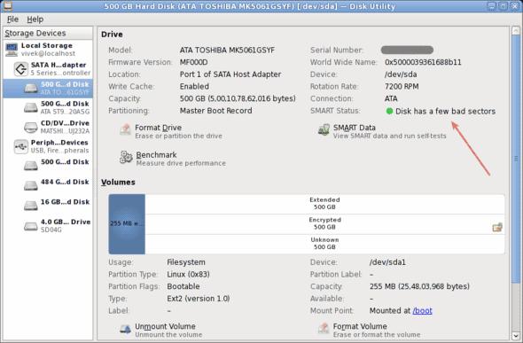 Linux-500-GB-Hard-Disk-(ATA-TOSHIBA-MK5061GSYF)-[-dev-sda]--Disk-Utility-Failing
