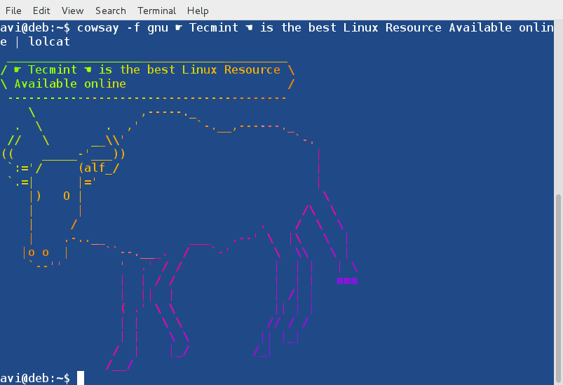 Cowsay-with-Lolcat