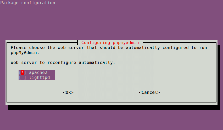 Configure-Web-Server-for-PhpMyAdmin - dpkg-reconfigure