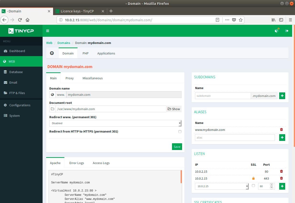 Domain-Configuration-Page