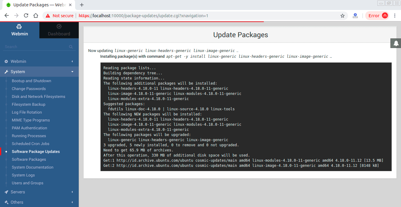 Testing-upgrade-kernel-ubuntu-from-webmin
