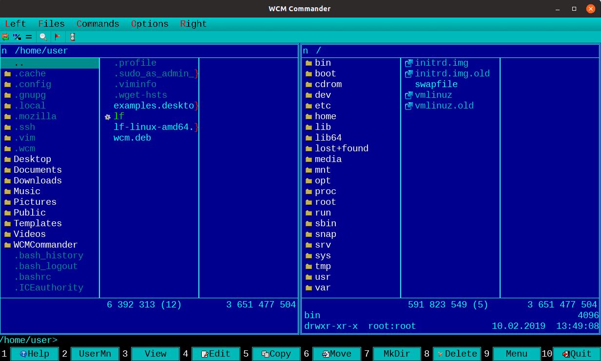 WCM-Commander - 8 лучших консольных файловых менеджеров Linux