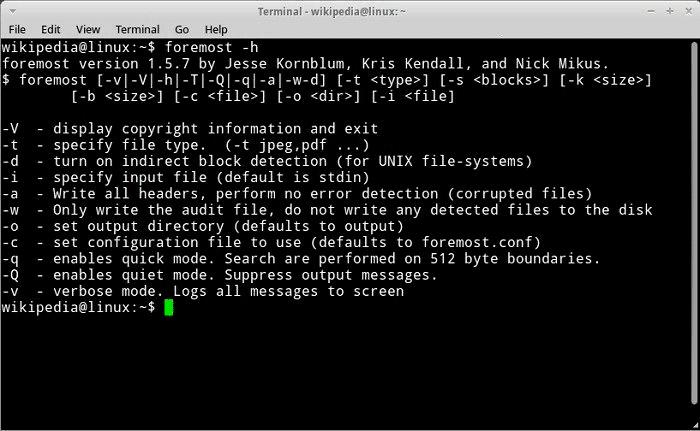 Foremost - Лучшие 15 инструментов для восстановления данных в Linux