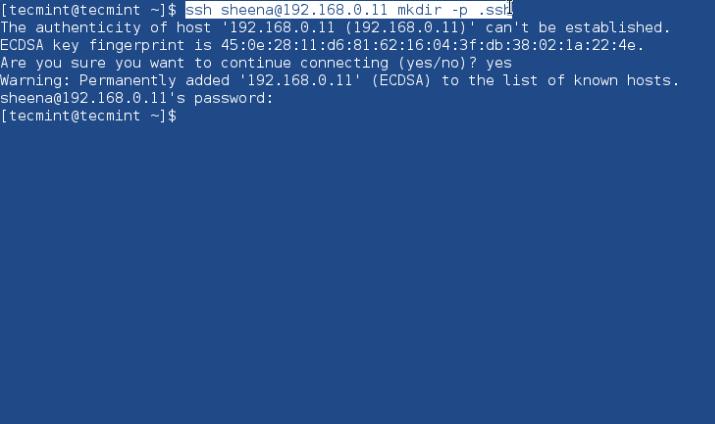 Create_ssh_directory - Как настроить вход без пароля с помощью SSH ключа