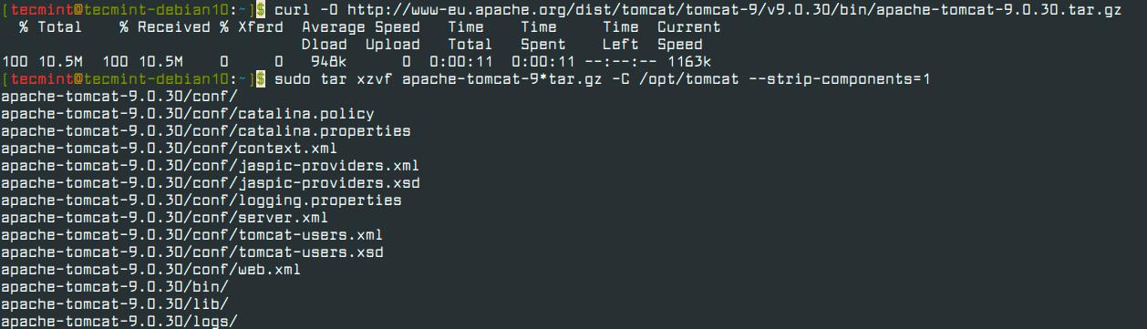 Download-Tomcat-in-Debian-10