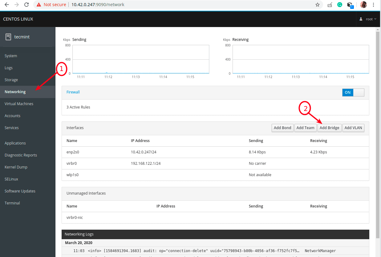 Add-Bridge-Network - Как установить KVM на Fedora / CentOS / RHEL 8?