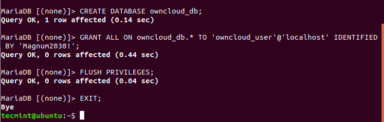 Create-OwnCloud-Database-in-Ubuntu