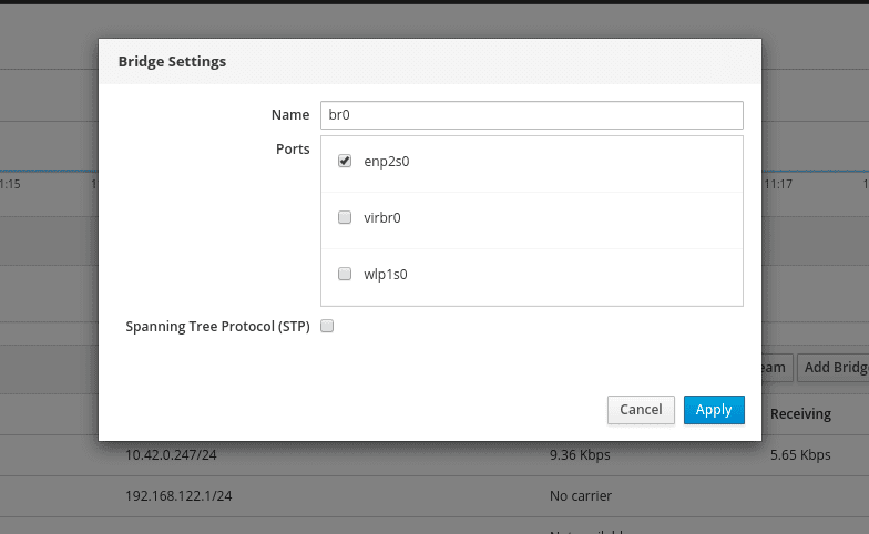 Enter-Network-Bridge-Settings
