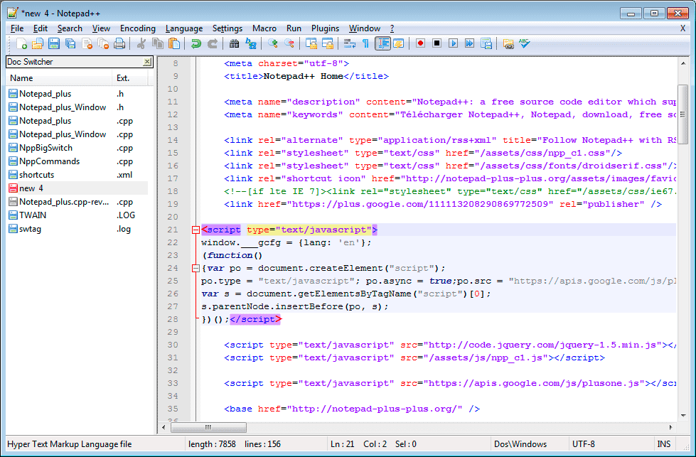Notepad++-Source-Code-Editor - 21 лучший текстовый редактор с открытым исходным кодом (GUI + CLI) в 2020 году