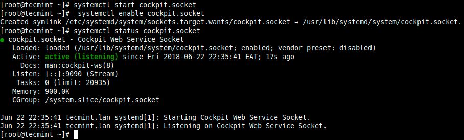 Verify-Cockpit-Status - Как установить KVM на Fedora / CentOS / RHEL 8?