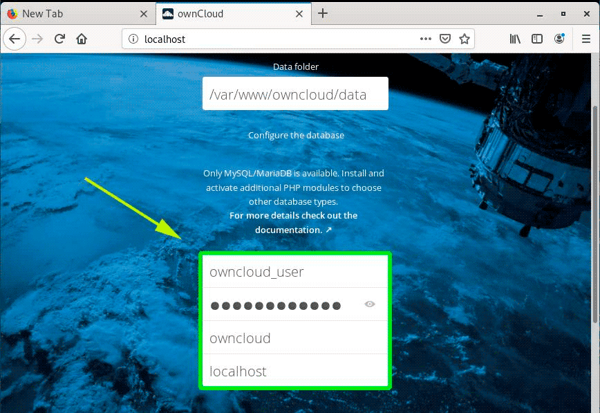 Add-OwnCloud-Database-Settings
