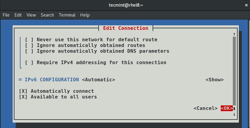 Confirm-Network-Settings - Настройка IP-сети с помощью инструмента «nmtui»